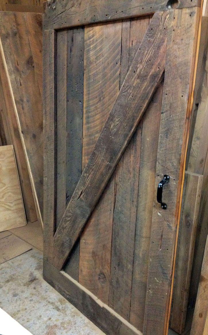 Custom barn door made from reclaimed barn board home - Reclaimed wood interior barn doors ...