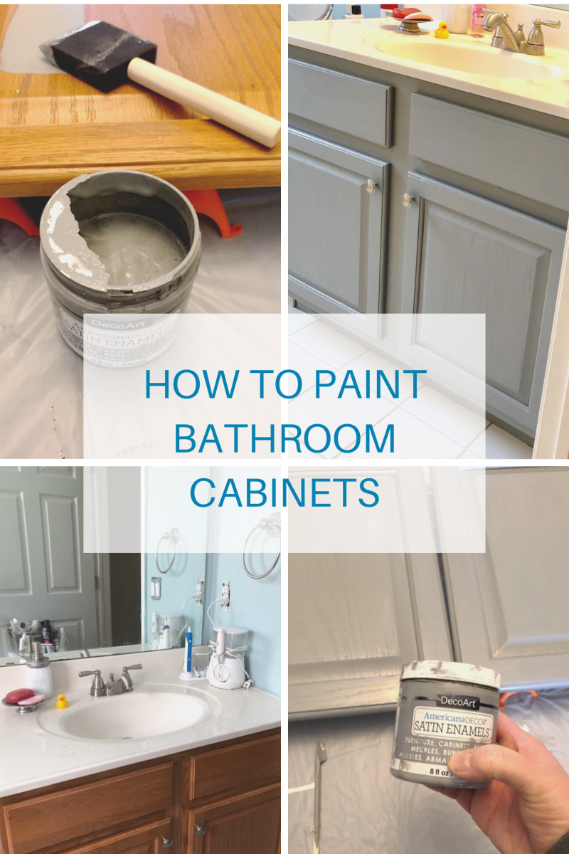 Painting A Bathroom Vanity With Americana Decor Satin Enamels Paint Is A Durable And Beautiful Way To Painting Bathroom Painted Vanity Bathroom Painted Vanity