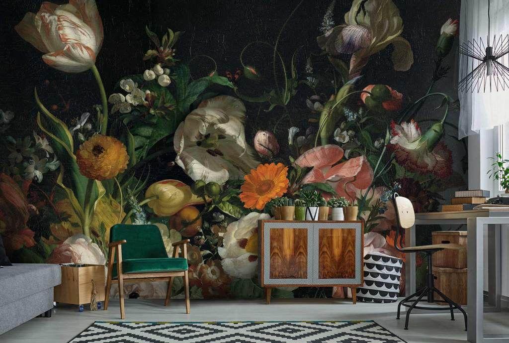 Dit prachtige foto behang met bloemen van twee oude