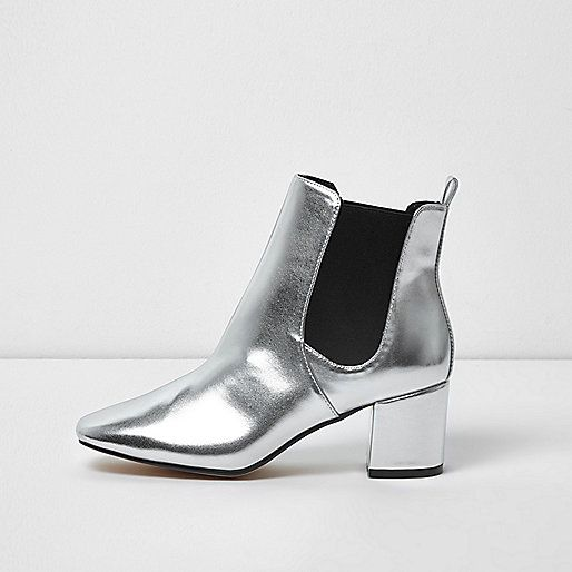 fed4ceae0ce Metallic silver block heel Chelsea boots