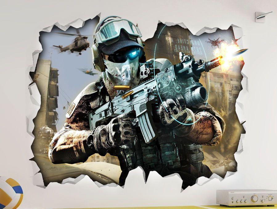 Call Of Duty 3 Cod Wall Vinyl Poster Sticker Bedroom Room Mural Man Cave
