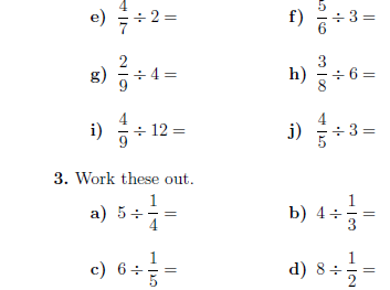 Dividing fractions by whole numbers and whole numbers by ...