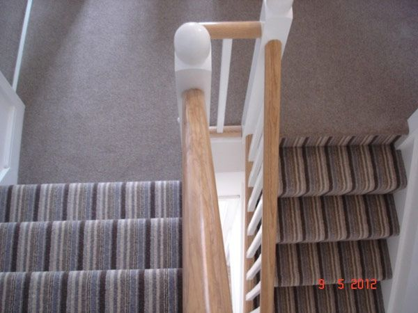 Beau Striped Carpet On Stairs Plain On Landing   Google Search