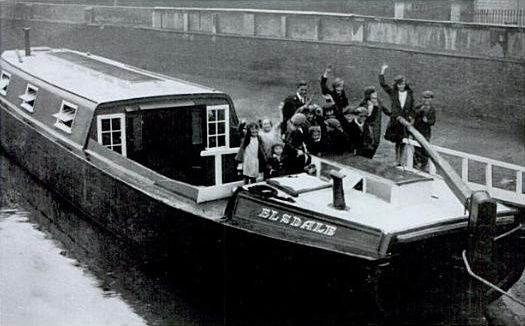 "Captioned: ""School barge Elsdale."" #elsdale #wideboat #barge #paddington #canal #basin #narrowboat #west #drayton #school #floating"