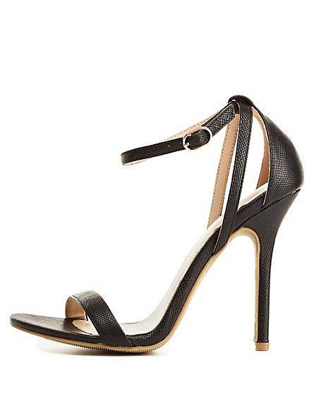 Snake-Textured Single Strap Heels