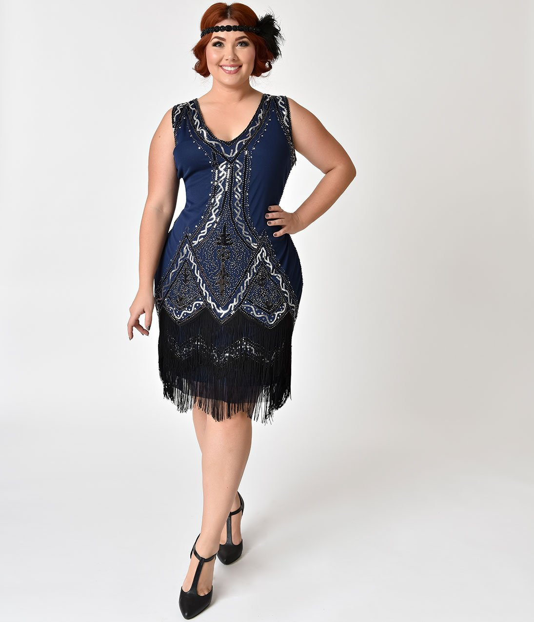 Plus size s style navy blue beaded sylvie flapper dress s