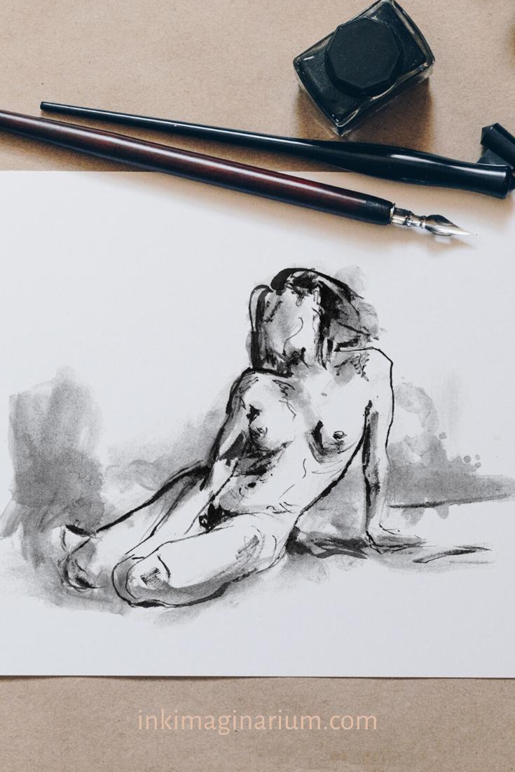 Gestenzeichnung Kunst – Weiblicher Akt in Schwarz und Weiß – Künstlerische Nacktheit