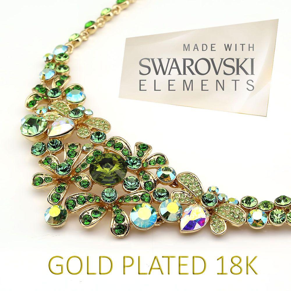 Collana con SWAROVSKI ELEMENTS Placcata in Oro 18K
