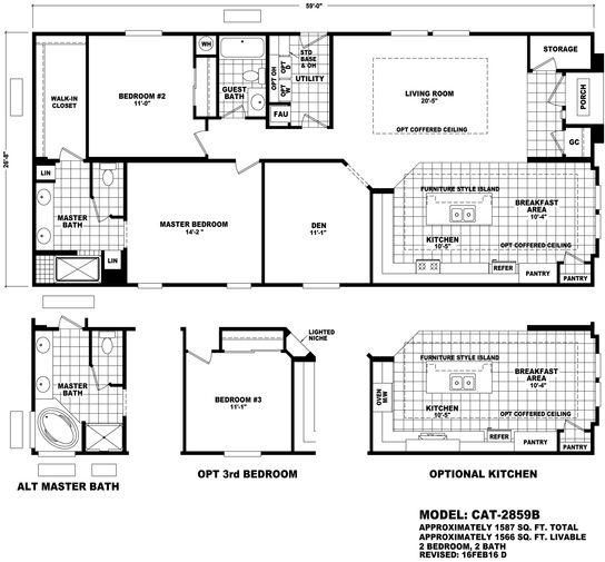 Floor Plan Cat 2859a Catalina Series Durango Homes Built By Cavco Manufactured Home Floor Floor Plans Manufactured Homes Floor Plans House Floor Plans