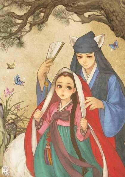 "South Korean illustrator Obsidian (also known as Huk-yo-suk) ""Red riding hood"""