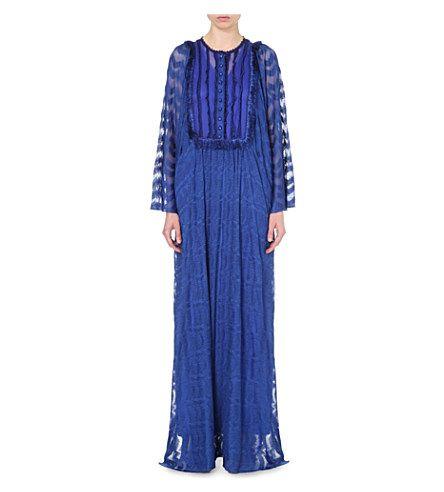 MISSONI Embroidered Stretch-Silk Maxi Kaftan. #missoni #cloth #dresses