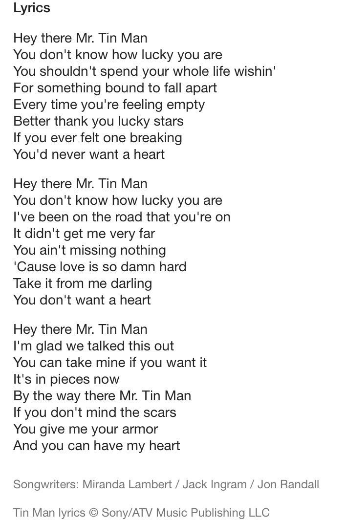 Lyric man song lyrics : Awesome Tin Man- Miranda Lambert... Best Quotes Love Check more at ...