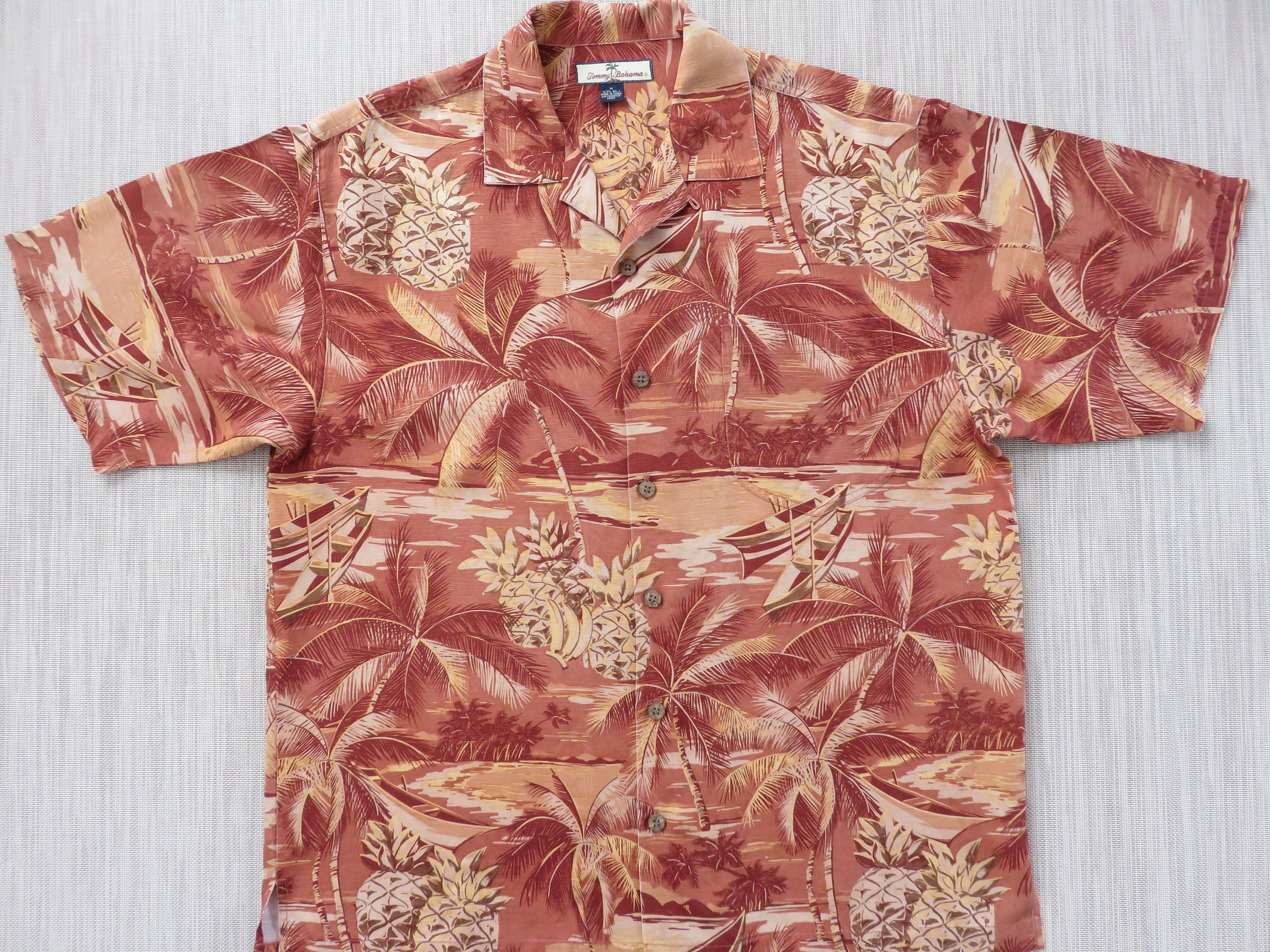 680ba470 TOMMY BAHAMA Shirt Hawaiian Shirt Copyrighted Tropical Island Pineapple  Express Aloha Shirt Relax Fit 100% Silk - M - Oahu Lew's Shirt Shack by ...