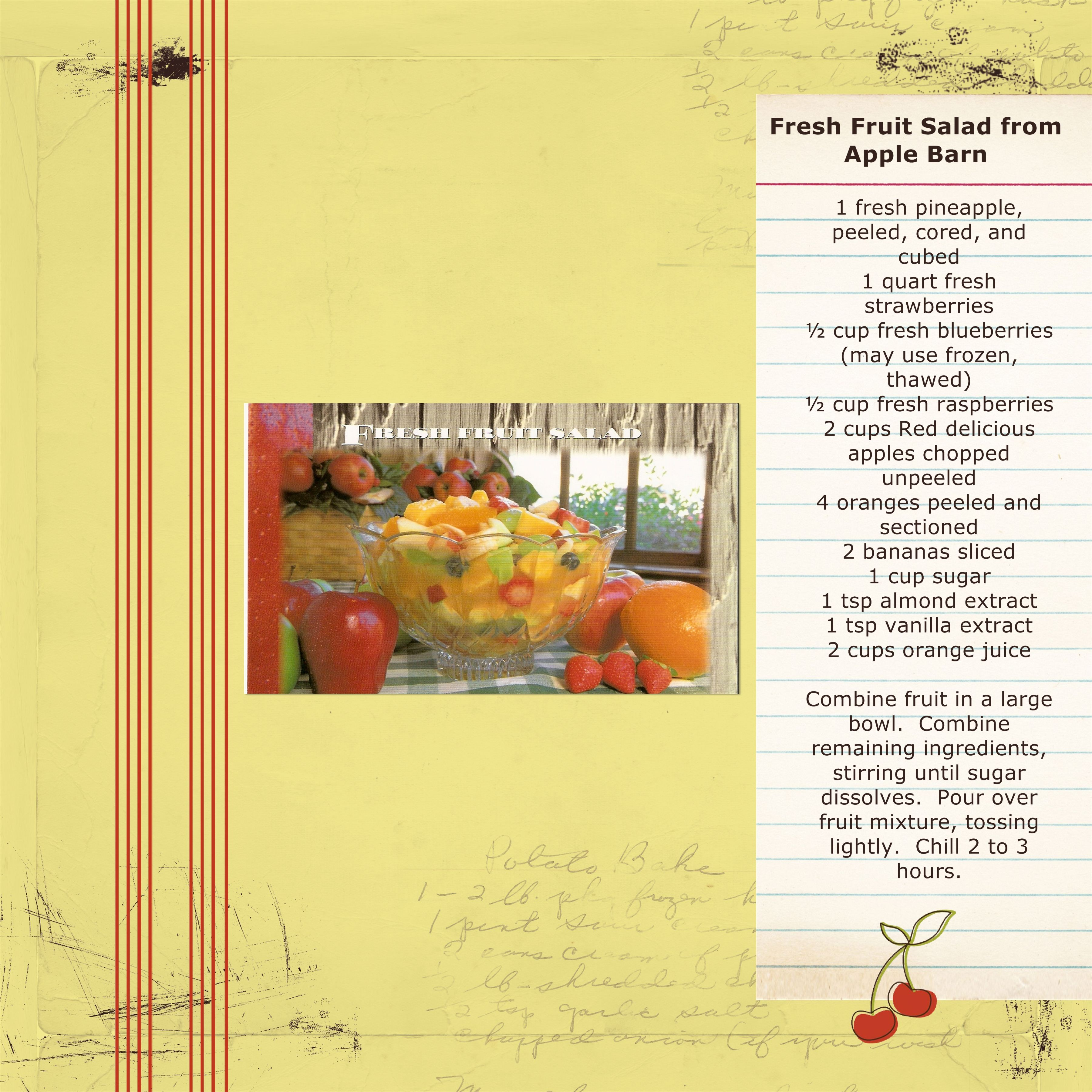 Fresh Fruit Salad ... recipe from the Apple Barn in ...