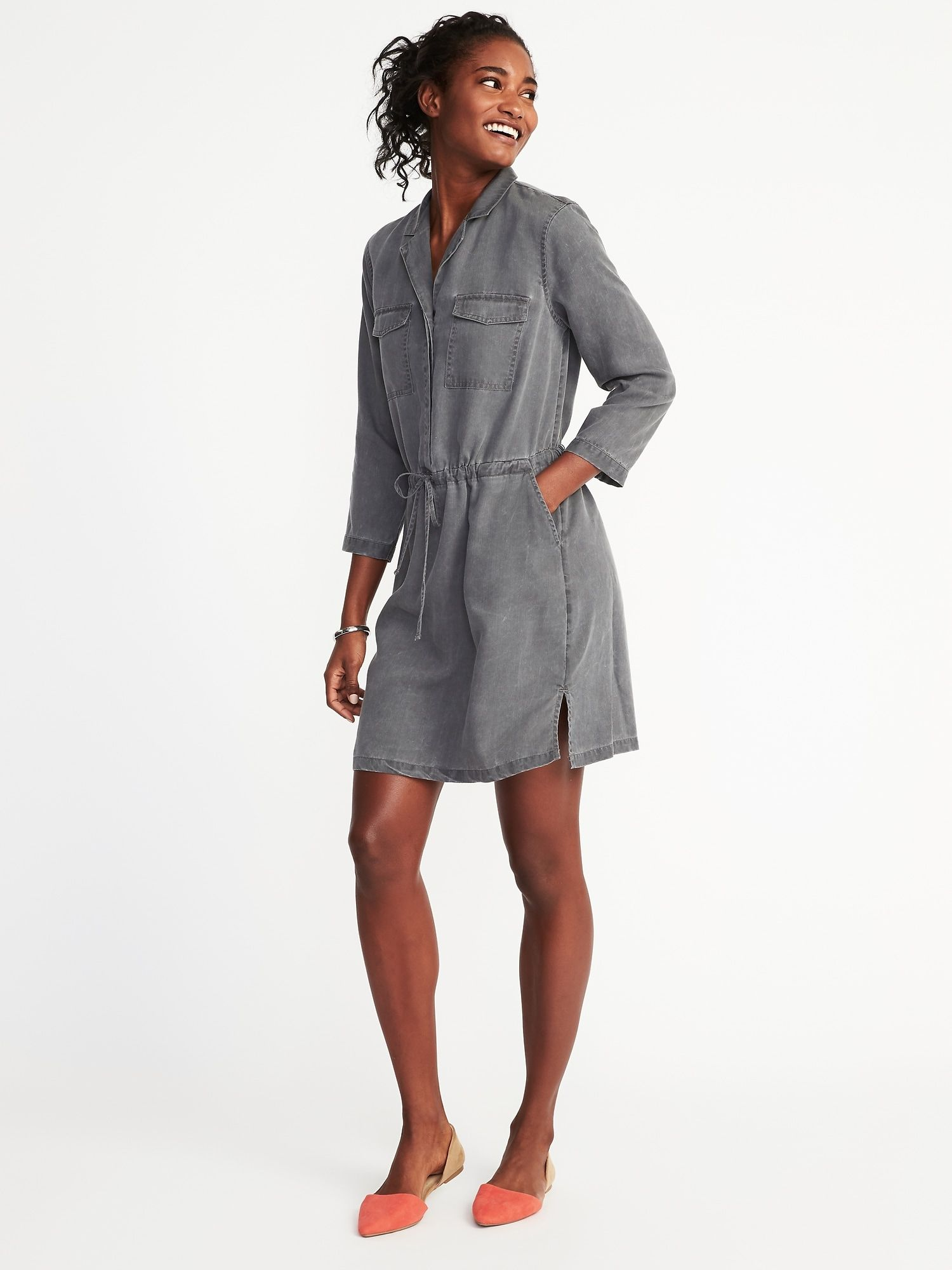 5e8ec4b4185 Tencel utility shirt dress