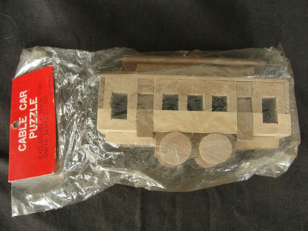 Vintage Smith Novelty Co. Wooden Cable Car Puzzle New #SmithNoveltyCo