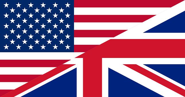 Flags Unites States Great Britain American English Words British And American English American English
