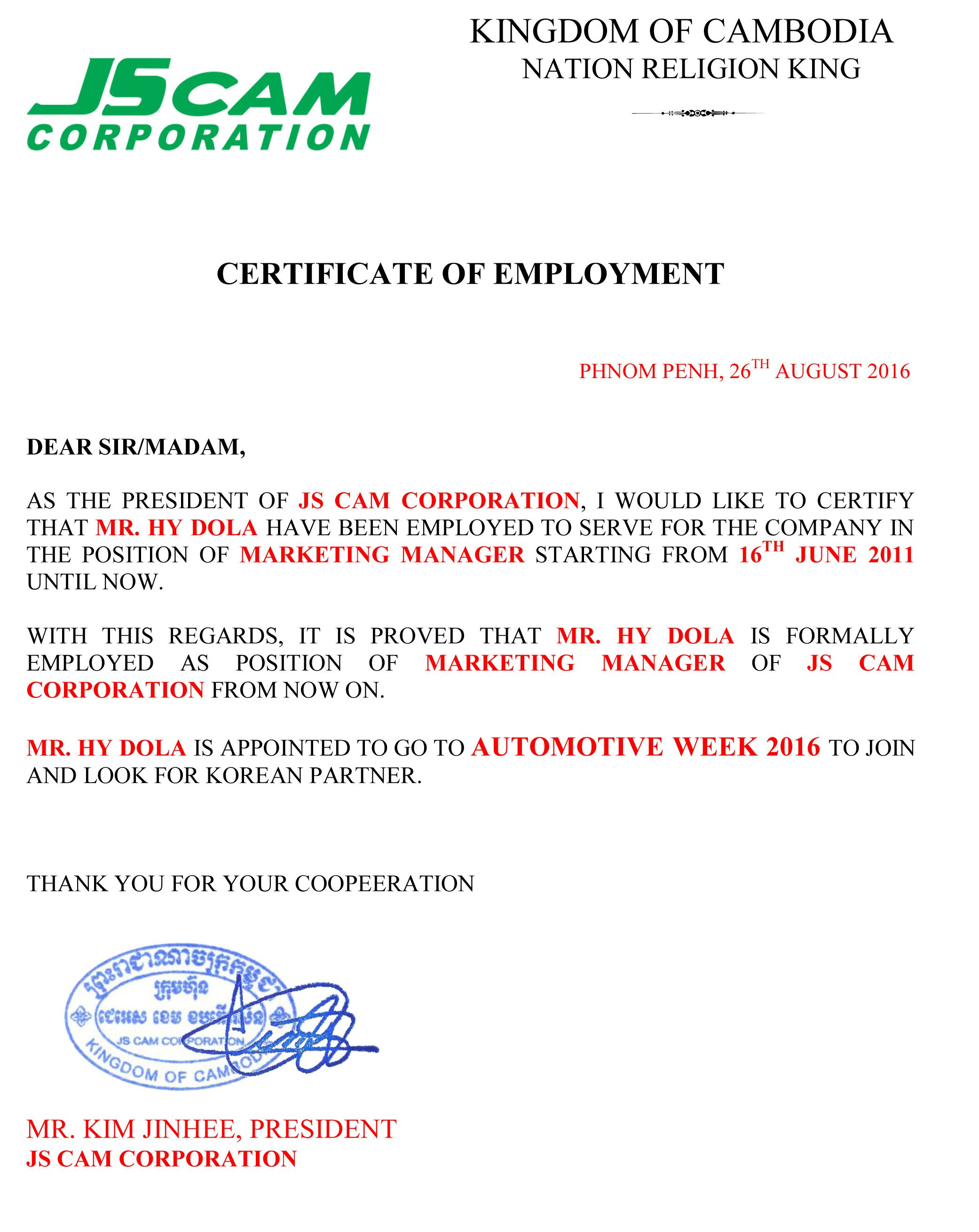 Doc585530 employee working certificate format employee letter for certificate employment visa application cover employee working certificate format yadclub Choice Image