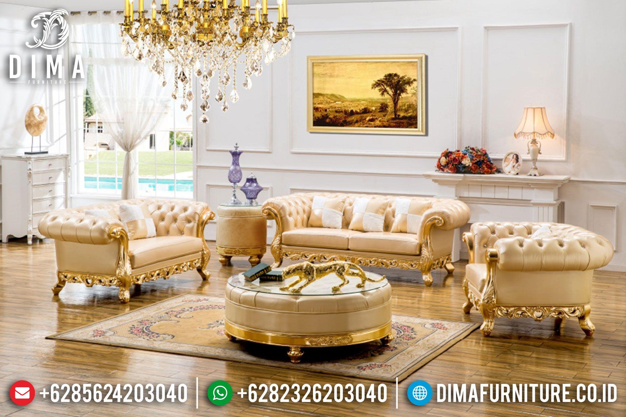 Set Kursi Sofa Tamu Mewah Ukiran Terbaru Warna Emas ST