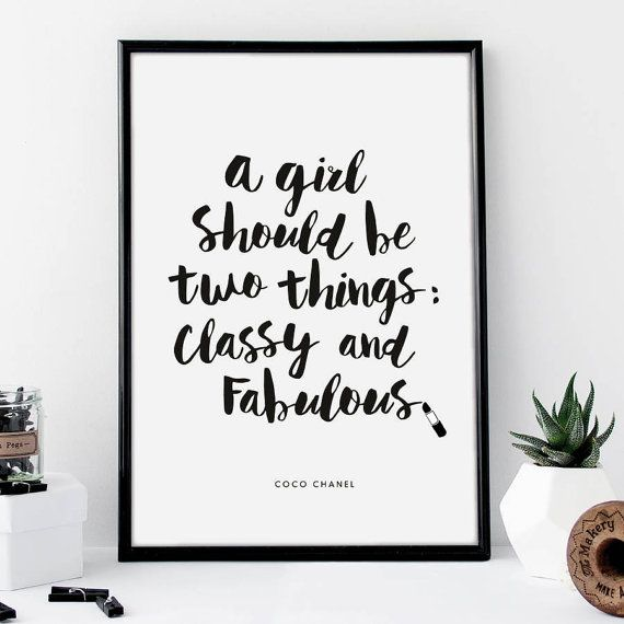 Classy Tumblr Pintrest Quote Typographic Print Word Art Wall Decor Girly Typography Room Framed Chanel Makeup Girl Teen