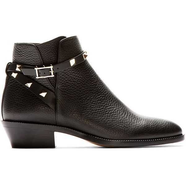 d8496ff932b Valentino Black Leather Rockstud Strapped Ankle Boots ( 685) ❤ liked on Polyvore  featuring shoes