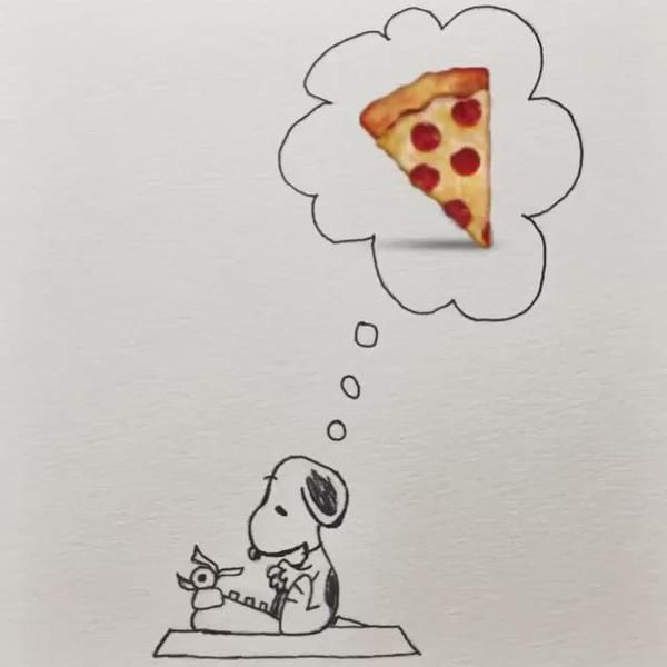 Snoopy pizza | Snoopy summer: tubing, Bon fire, camping, hiking ...