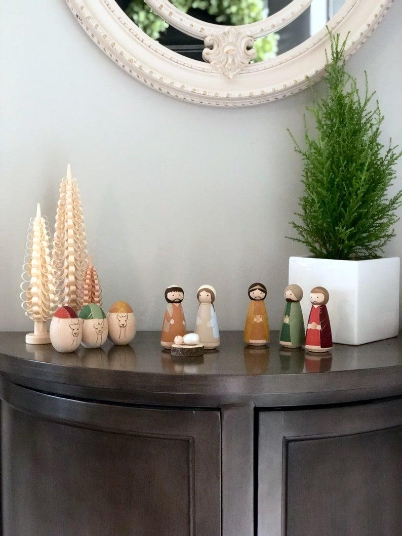 Peg Nativity Set, Country Home Decor, Farmhouse Christmas