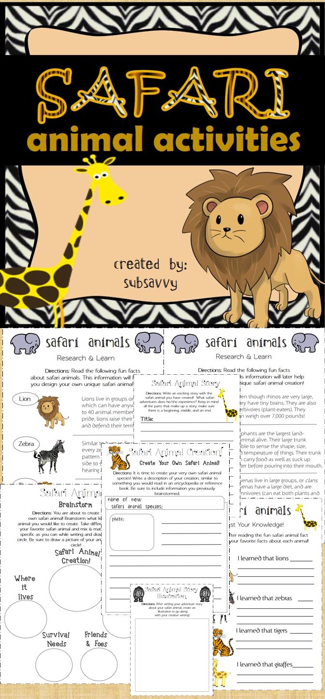 Safari Animal Activities Common Core Aligned Animal