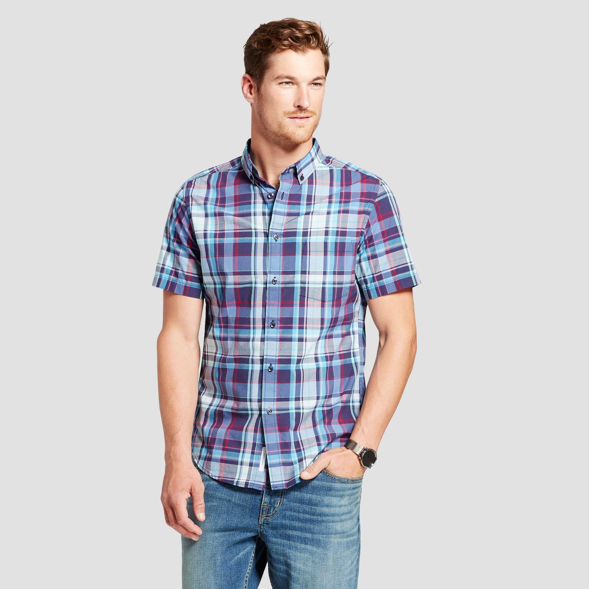 Mens short sleeve soft wash slim fit buttondown shirt
