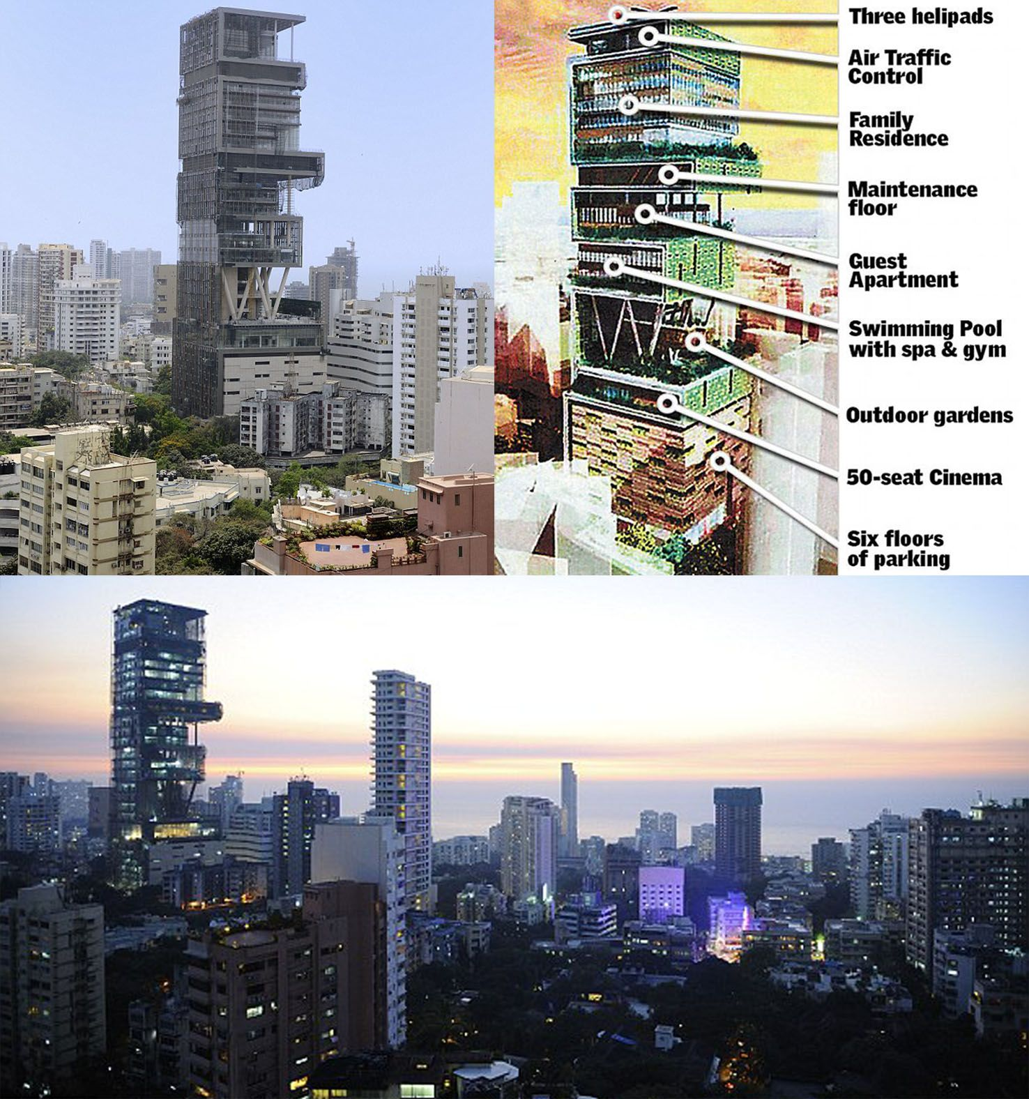 Antilla Mukesh Ambani and Nitas house at Altamount Road Mumbai