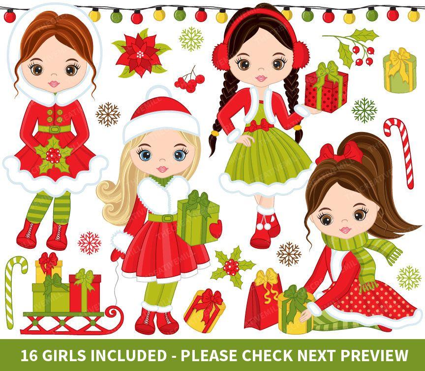 Christmas Girls Clipart - Vector Christmas Clipart, Girl Clipart ...