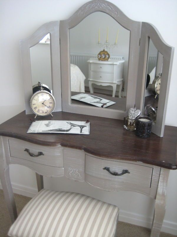French Vintage Dressing Table With Triple Mirror Country Chic New Ebay Vintage Dressing Tables Shabby Chic Dresser Dressing Table