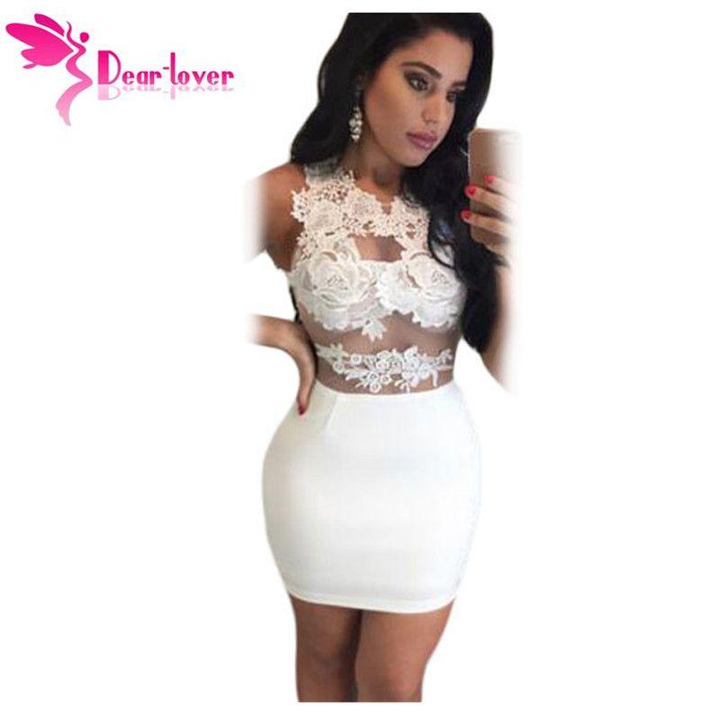 39823d82b14af Dear-Lover White Pink Vetement Femme Lace Mesh Applique Bodycon Mini Dress  in Womens Vestidos Festa Cortos Party Summer LC22727