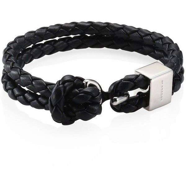 Burberry Beacon Braided Leather Double Wrap Bracelet 265 Cad Liked On Polyvore