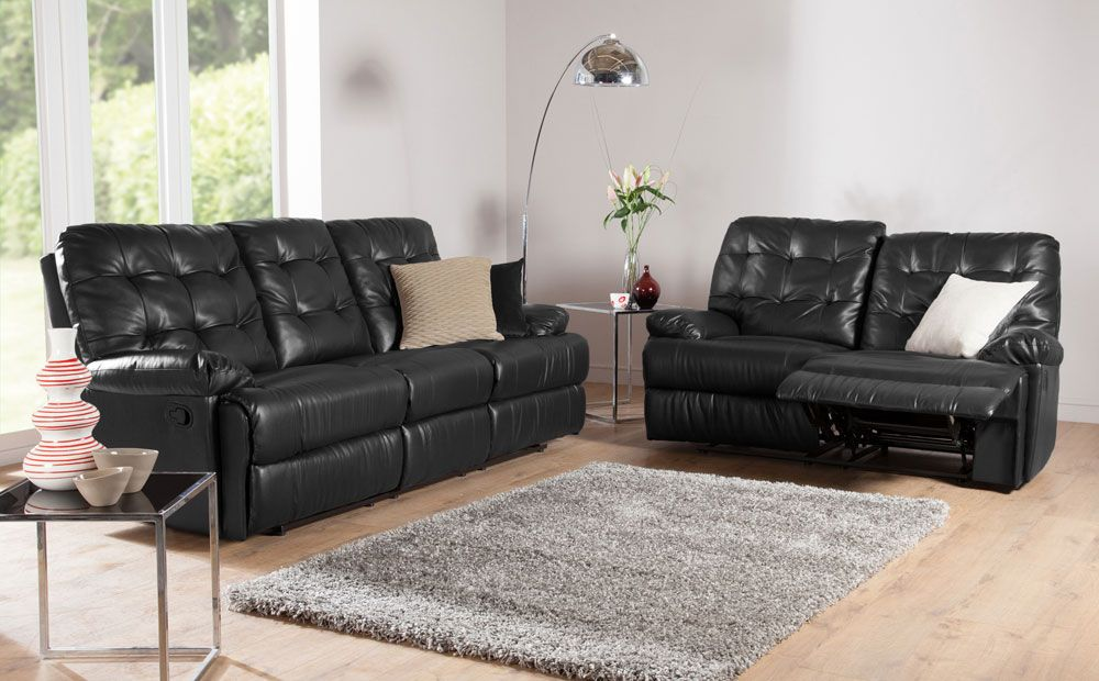 Montrose Leather Recliner Sofas in Black at Furniture Choice ...