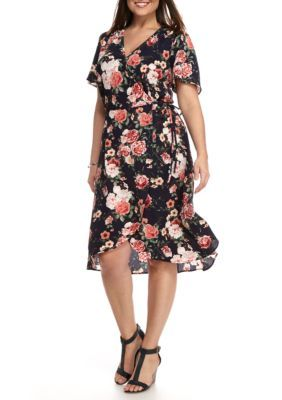 Chris McLaughlin Plus Size Floral Printed Wrap Dress   Products ...