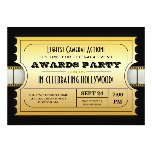 This Deals Annual Movie Awards Party Golden Ticket 5x7 Paper - invitation card event