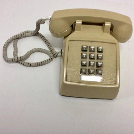 70s Vintage Tan Pushbutton Landline Telephone Phone Vintage