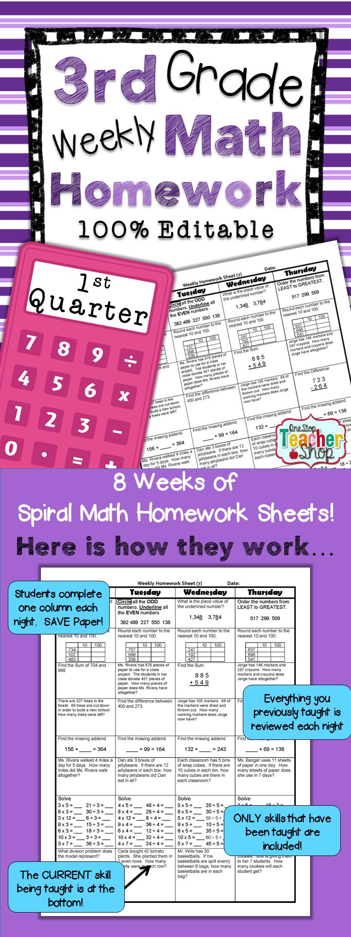 3rd Grade Math Review | Homework or Morning Work | 1st Quarter ...