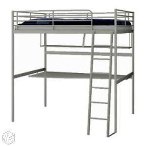 Lit Mezzanine 140 200 Bureau Et Etagere Ikea Avec Images Lit