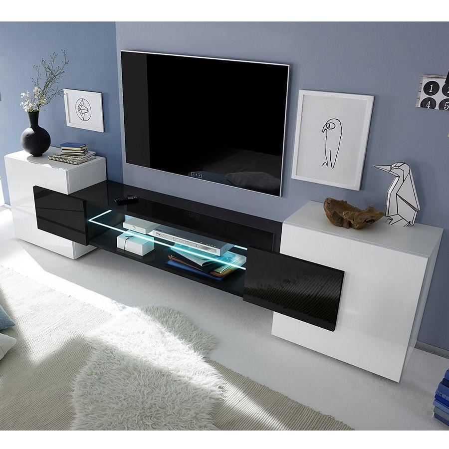 Meuble Tv Blanc Et Noir Laqu Brillant Argos 3 Meuble Tv  # Meuble Tv Noyer Et Blanc