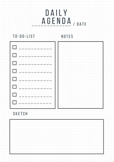 Minimalist Grid General Daily Planner Best of- Cube edition - sample weekly agenda