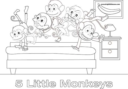 5 little monkeys colouring sheet szukaj w google super for Five little monkeys jumping on the bed coloring pages