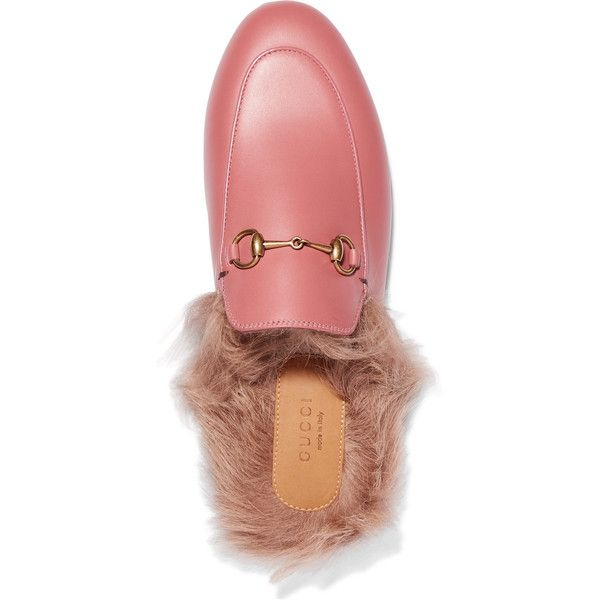 98bee973c Gucci Horsebit-detailed shearling-lined leather slippers ($925) ❤ liked on  Polyvore featuring shoes and slippers