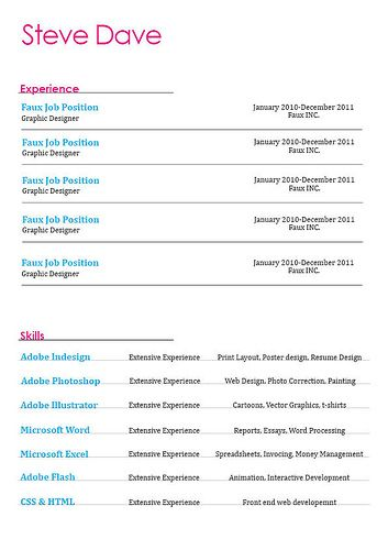 Resume Layout Page One HttpBespokeresumedesignCom  Work