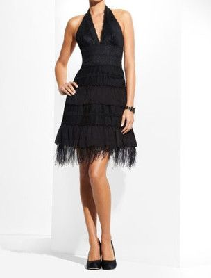 NEW BCBG MAX AZRIA BLACK LACE TIERED FEATHER CHIFFON (POZ6G272) DRESS SIZE 2 on eBay!