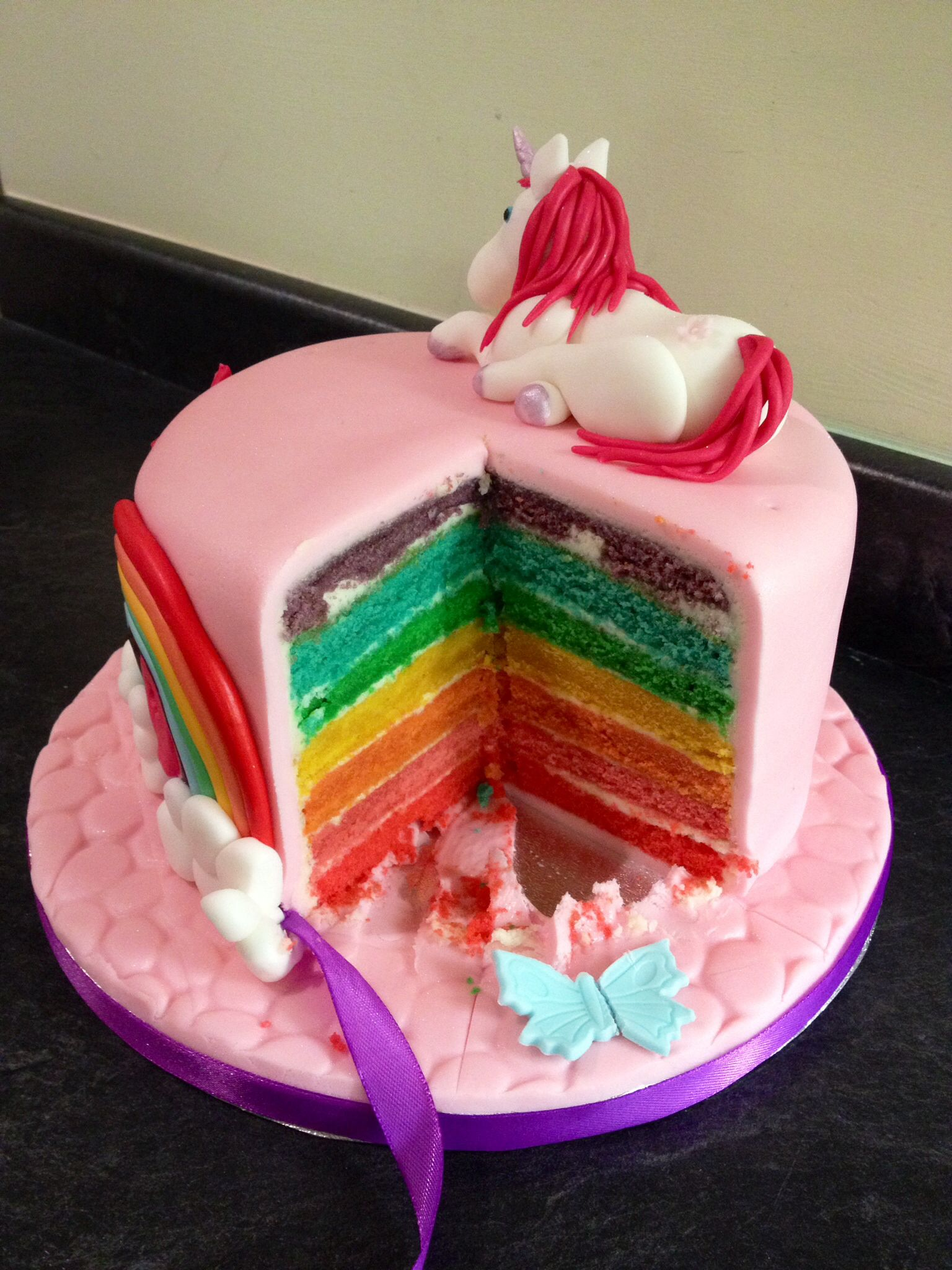 Unicorn Cake With Rainbow Sponge