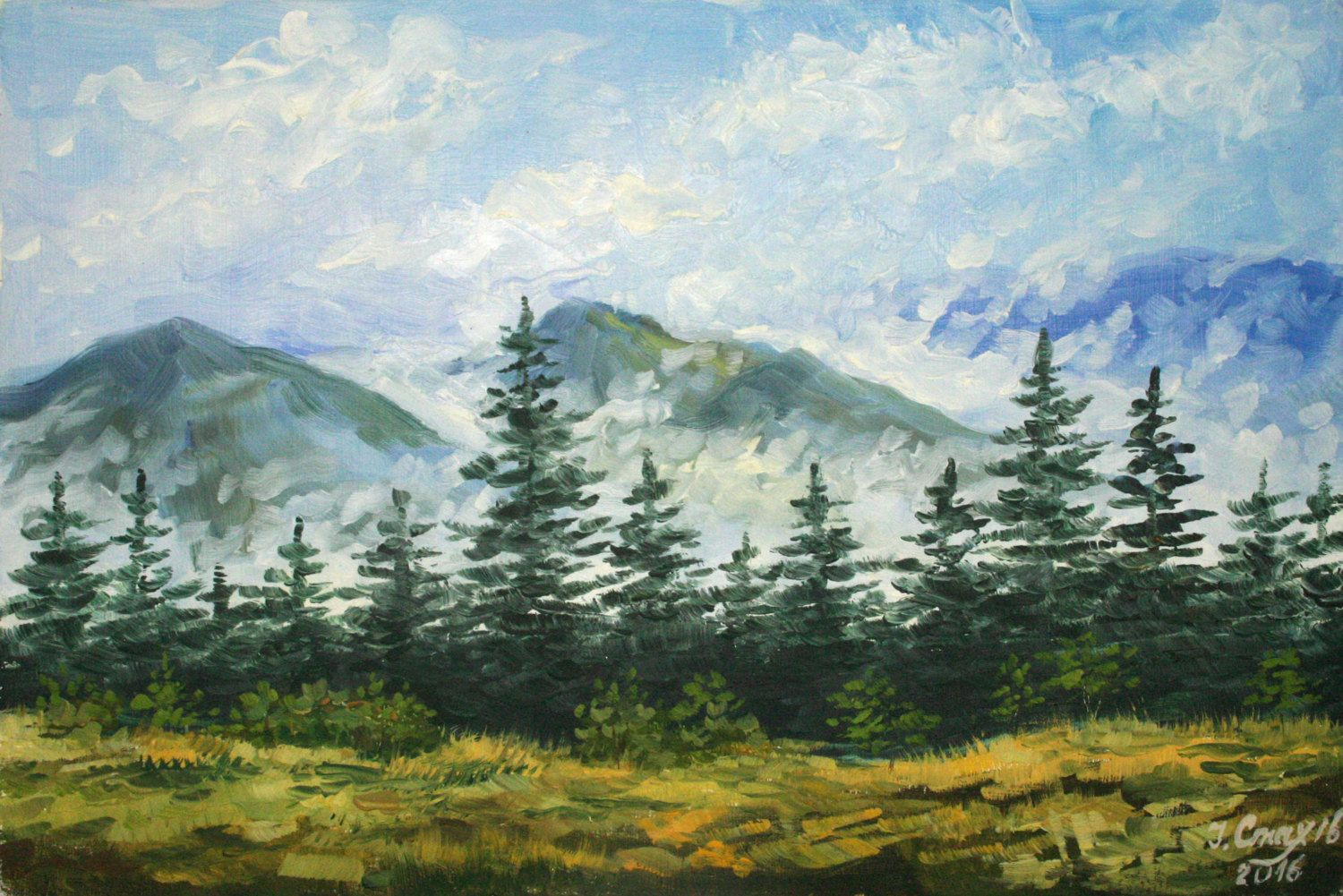 Mountain Landscape Painting Nature Oil Painting Scenery Painting Small Format Miniature Gift Mountain Landscape Painting Scenery Paintings Oil Painting Nature
