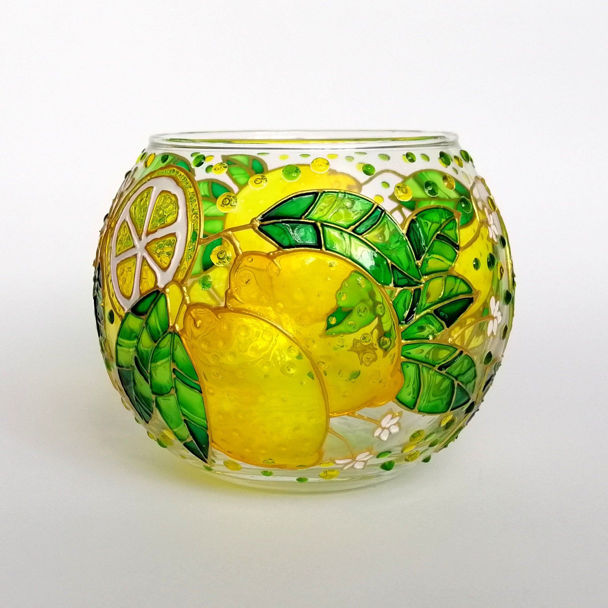 Lemon candle holder Hand painted glass candle holder wedding Centerpiece Tea Light Holder Votive ca
