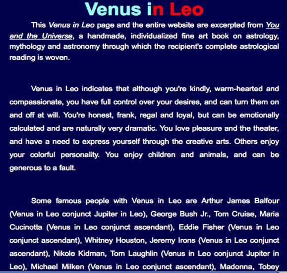 Venus In Leo Zodiac Signs Im A Leo Pinterest Venus In Leo